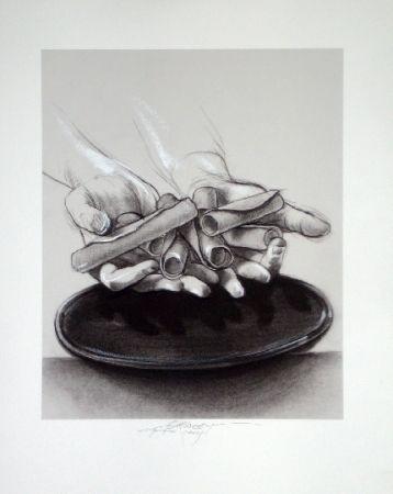 Lithographie Pignon-Ernest - Mains aux cigares
