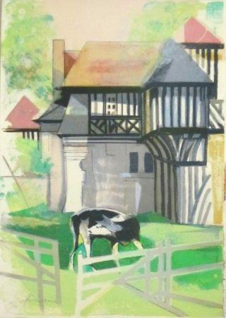 Lithographie Hilaire - Maison a colombage