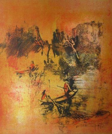 Lithographie Lebadang - Maison sur eau