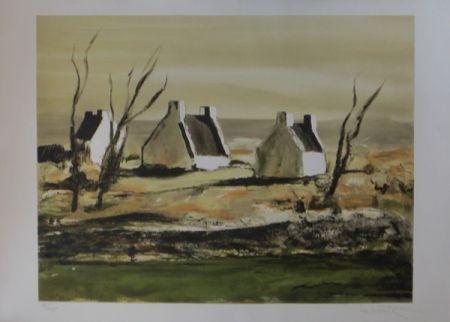 Lithographie Laporte - Maisons en bretagne