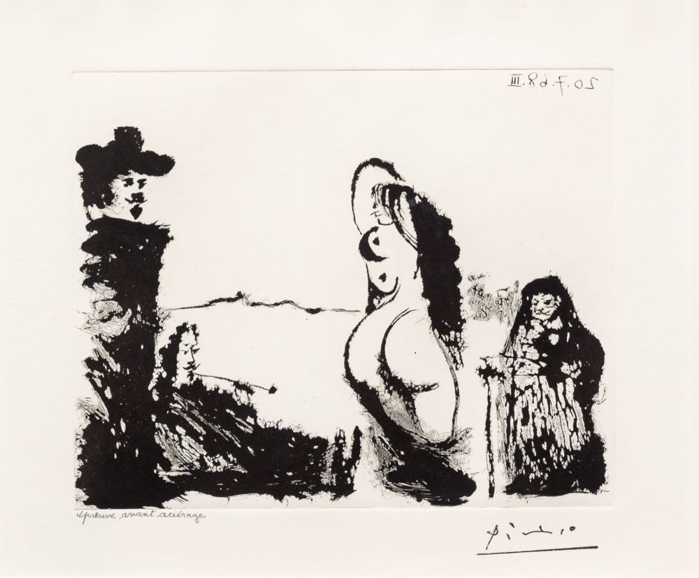 Aquatinte Picasso - Maja et Celestine
