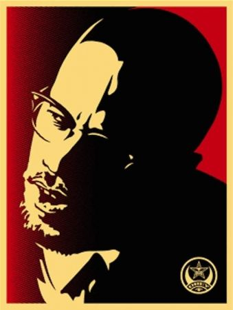 Sérigraphie Fairey - Malcolm X Red