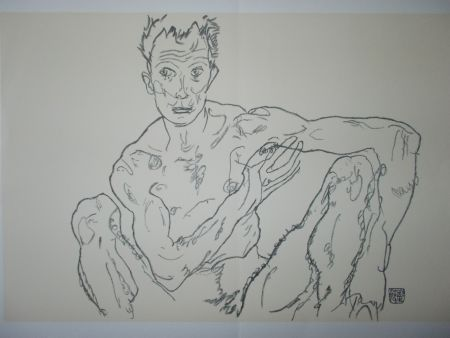 Lithographie Schiele - Male nude