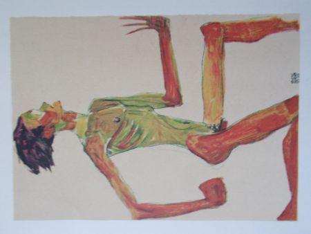 Lithographie Schiele - Male nude in profil