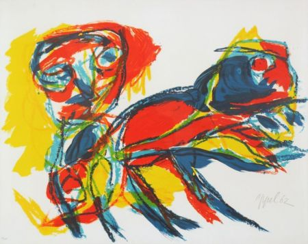 Lithographie Appel - Man and Red Beast