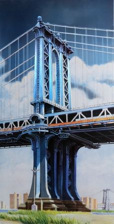 Lithographie Haas - Manhattan Bridge