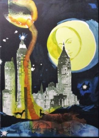 Lithographie Dali - Manhattan Skyline, Tarot The Moon