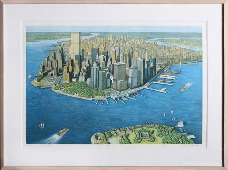 Eau-Forte Et Aquatinte Haas - Manhattan View from Governor's Island (Color)