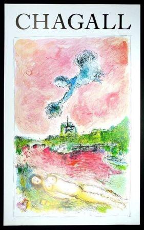 Affiche Chagall - Marc Chagall - Vue Sur Notre Dame. Cartel Exposicion 79 X 48 Cm