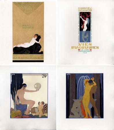 Livre Illustré Barbier - Marcel Schwob : VIES IMAGINAIRES. Compositions par George Barbier. Le Livre Contemporain (1929). Dans une reliure Art-Déco.
