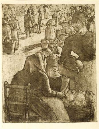 Gravure Pissarro - Marché aux légumes, à Pontoise