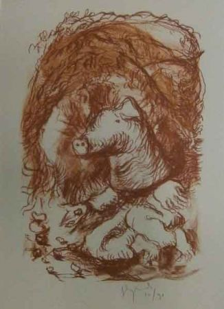 Lithographie Garouste - Marché de la truffe
