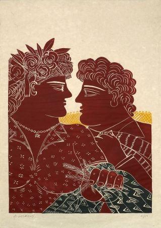 Linogravure Fassianos - Mariage au printemps