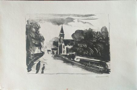 Lithographie Vlaminck - Marine, l'église