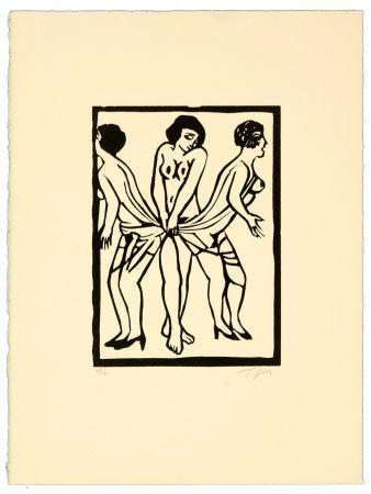 Linogravure Topor - Marx sisters