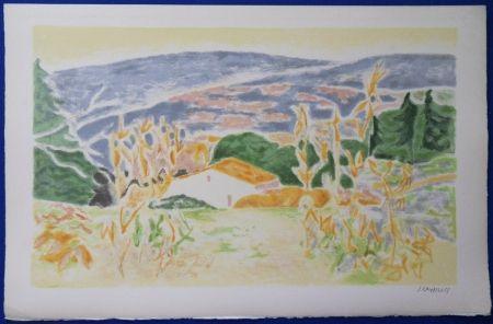Lithographie Cavailles - Mas en Provence