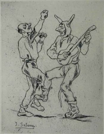 Eau-Forte Gutiérrez Solana  - Mascaras bailando con guitarra