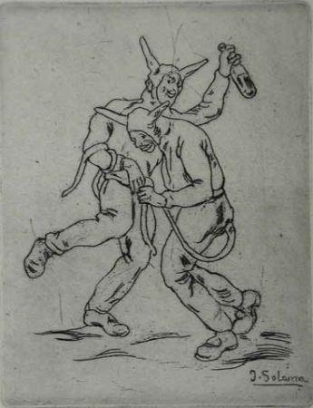 Eau-Forte Gutiérrez Solana  - Mascaras diablos bailando