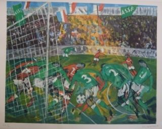 Lithographie Bertholle - Match de football