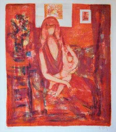Lithographie Mouly - Maternité