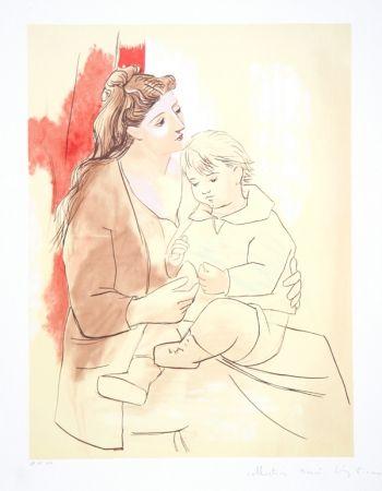 Lithographie Picasso - Maternite au Rideau Rouge, K-1