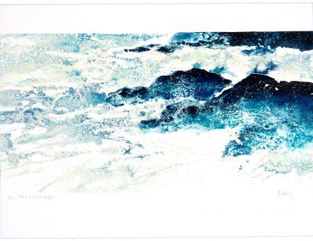 Lithographie Stholl - Matin à contre-vagues
