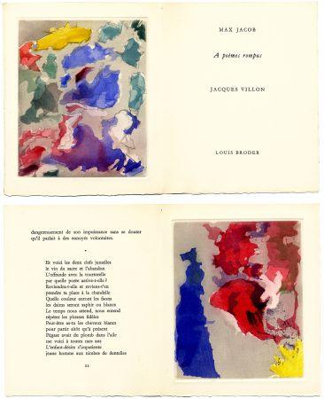 Livre Illustré Villon - Max Jacob : À POÈMES ROMPUS. 5 gravures originales en couleurs (1960).