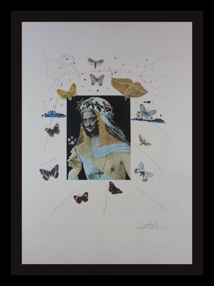 Gravure Dali - Memories of Surrealism Surrealiste Portrait of Dali Surrounded by Butterflies