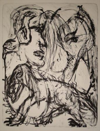 Lithographie Disler - Mensch und Tier