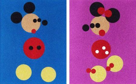 Sérigraphie Hirst - Mickey (Blue Glitter) & Minnie (Pink Glitter)