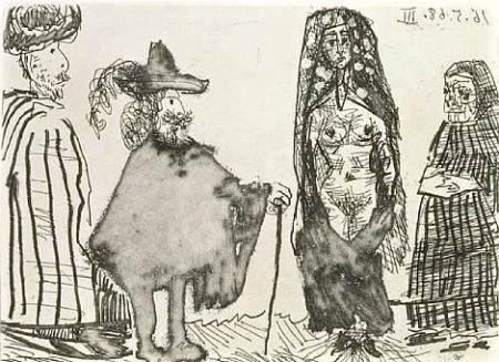 Eau-Forte Et Aquatinte Picasso - Mille et une nuits et Celestine: la jeune esclave