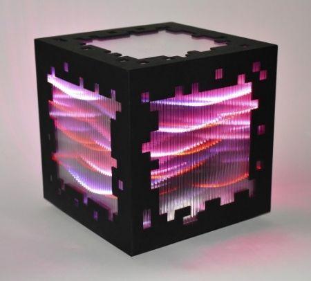 Gravure Sur Bois Chevalier - Mini voxels light red
