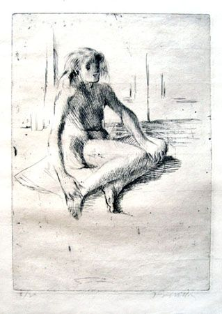 Gravure Villon - Minne assise à terre