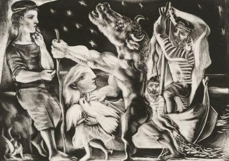 Manière Noire Picasso - Minotaure aveugle guidé par Marie-Thérèse au pigeon dans une nuit étoilée (Blind Minotaur Guided Through a Starry Night by Marie-Thérèse with a Pigeon)