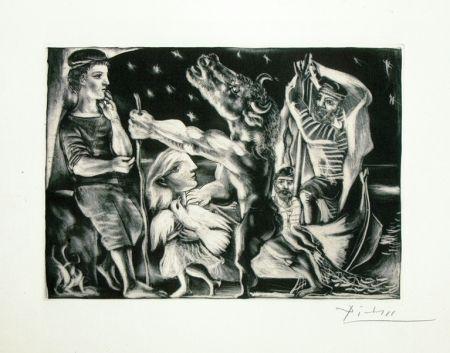 Aquatinte Picasso - Minotaure aveugle guide par une fillette dans la nuit from the Vollard Suite