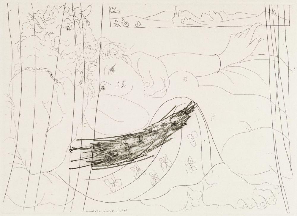 Eau-Forte Picasso - Minotaure et femme derriere un rideu