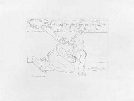 Gravure Picasso - Minotaure mourant et jeune fille pitoyable