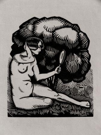 Gravure Sur Bois Moreau - MIROIR / MIROR - Gravure s/bois / Woodcut - 1921