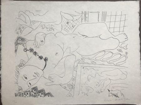 Lithographie Matisse - Modèle refleté dans le miroir avec la main de l'artiste 45x60 CAHIERS D'ART