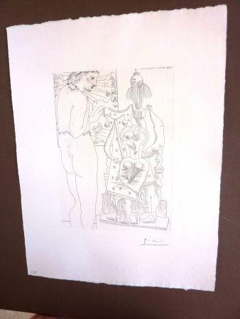Gravure Picasso - Modele Et Sculpture Surrealiste'