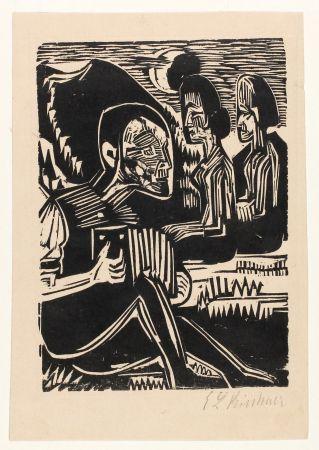 Gravure Sur Bois Kirchner - Mondnacht (Selfportrait with accordion)