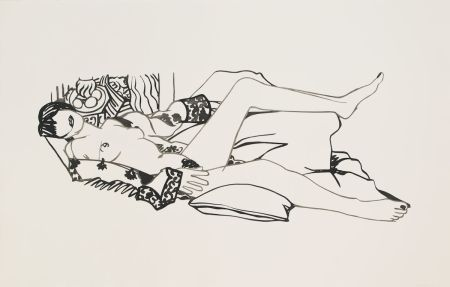 Aquatinte Wesselmann - Monica Nude with Purple Robe