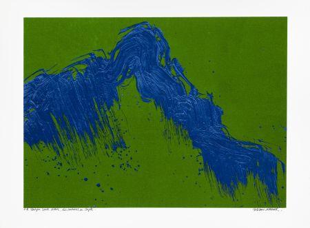 Sérigraphie Verdier - Montagne Sainte-Victoire, des Venturiers au Cengle un jour d'été (vert)