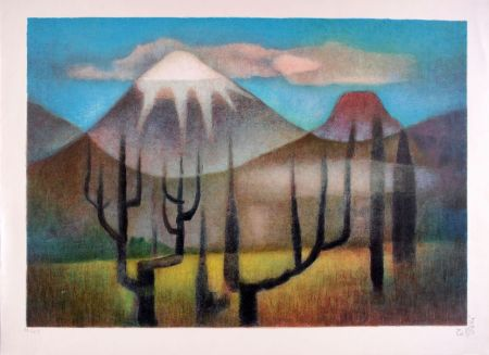Lithographie Toffoli - Montagnes mexicaines