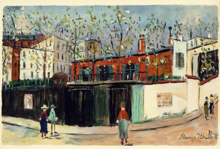 Pochoir Utrillo - MONTMARTRE (1935-38) de l'album : Douze Contemporains par J. Lassaigne (1959)