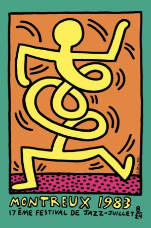 Lithographie Haring - Montreux Jazz Festival (green)