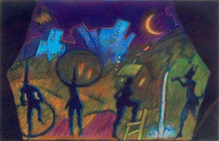 Eau-Forte Et Aquatinte Almaraz - Moonlight Theatre