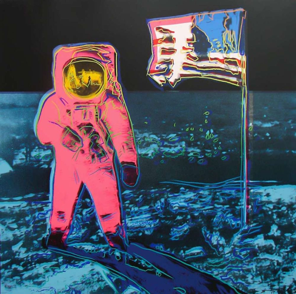 Sérigraphie Warhol - Moonwalk, Blue and Pink (FS II.405)