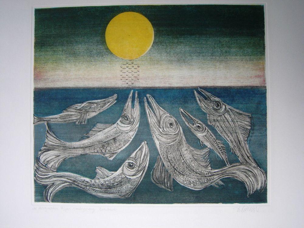 Eau-Forte Et Aquatinte Finsterer - Morgenstern >Fisches Nachtgesang<
