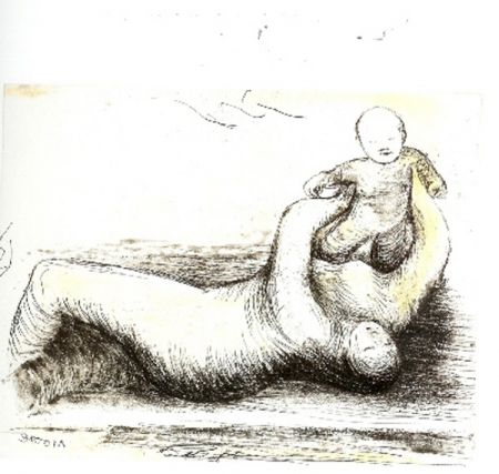 Eau-Forte Et Aquatinte Moore - Mothe & Child XII